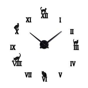 Hot design large decorative wall clocks brief design diy clocks digital watch quartz living room 3d cat wall stickers(China)
