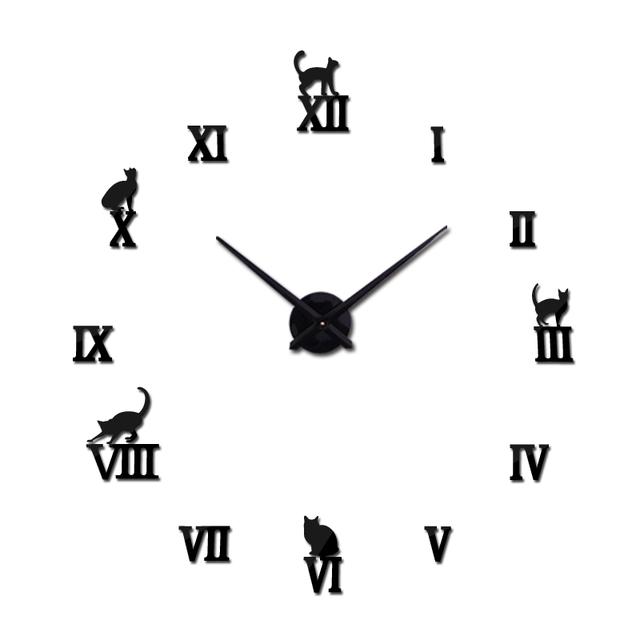 2017  large decorative wall clocks brief design diy clocks digital watch quartz living room 3d cat wall stickers