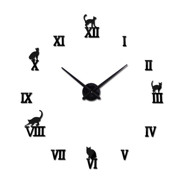 Gorący projekt duże dekoracyjne zegary ścienne krótkie projekt diy zegary cyfrowy zegarek kwarcowy salon 3d kot naklejki ścienne
