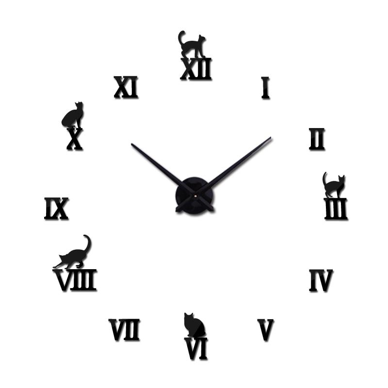 Diseño caliente grandes relojes de pared decorativos breve diseño relojes diy reloj de cuarzo digital sala de estar 3d cat pegatinas de pared