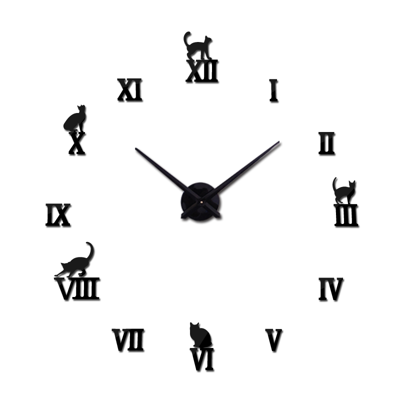 Хот десигн велики украсни зидни сатови кратки дизајн ДИИ сатови дигитални сат кварц дневни боравак 3д мачка зид наљепнице