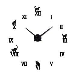 Nóng thiết kế lớn trang trí đồng hồ treo tường ngắn gọn thiết kế tự làm đồng hồ kỹ thuật số Đồng hồ thạch anh phòng khách 3D Mèo dán tường