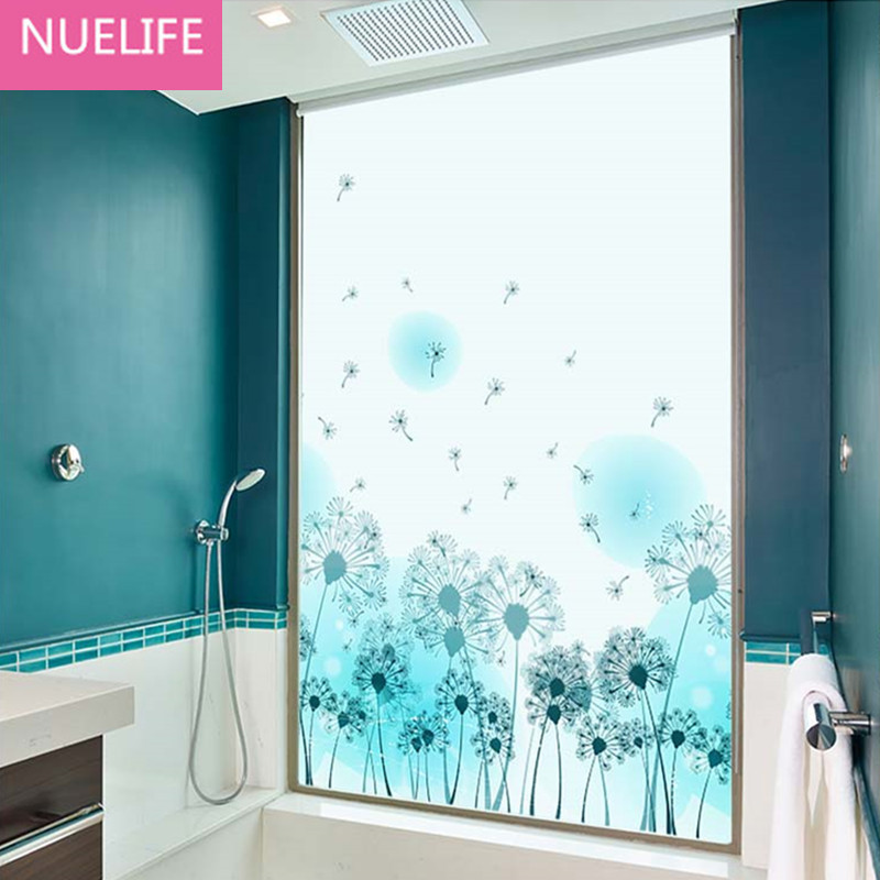 60x90cm pvc dandelion pattern frosted glass film opaque film bathroom livingroom balcony door window film