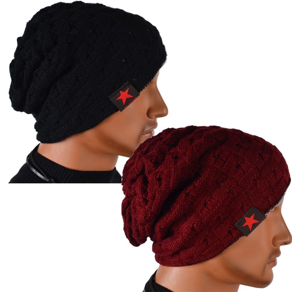 Men Knit Beanie Reversible Baggy Cap Skull Chunky Winter Hat Claret Top Sale