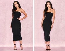 Summer Women Fashion Sleeveless Bodycon Dress Casual Solid Color Dress Sexy Strapless Pencil Dresses