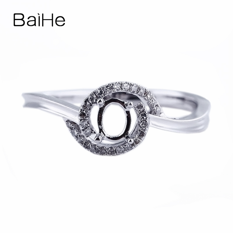 BAIHE Solid 14k White Gold(AU585) 100% Natural Diamonds 3x5mm Oval CUT Semi Mount Wedding Elegant Ring Fine Jewelry Fashion RingBAIHE Solid 14k White Gold(AU585) 100% Natural Diamonds 3x5mm Oval CUT Semi Mount Wedding Elegant Ring Fine Jewelry Fashion Ring
