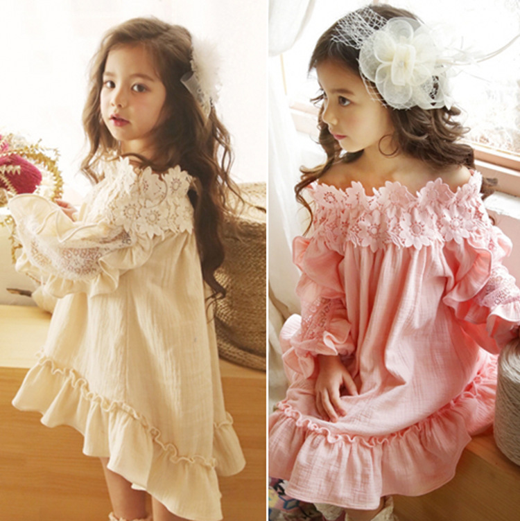 EMS DHL Free New Summer Girls Princess Dress Lace Neck Long Sleeve Cute Korea Style Shoulderless Casual Dress Children Clothing dhl ems 1pc new elco ec40a6 h6pa 3000
