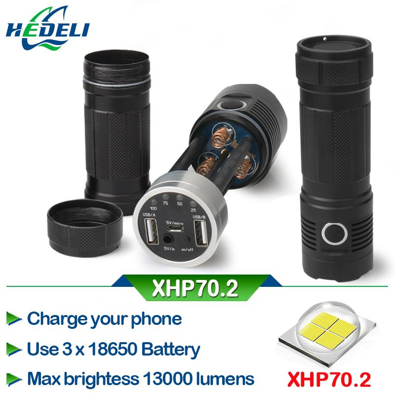50000 lumens 29W XHP70.2 most powerful led flashlight 3*18650 battery xhp70 Police LED torch mobile power bank usb output port*2 Люмен