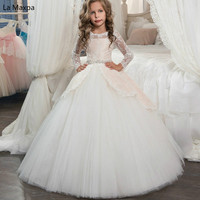 New Children White Lace Tutu Dress Girls Piano Show Mesh Catwalk Clothing Baby Birthday Gifts Take Photo Long Sleeved Dress