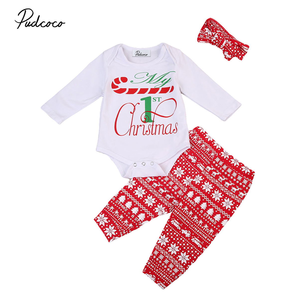 3pcs christmas baby clothes set Newborn Infant Baby Boy Girl letter white Romper+red pants+headband Jumpsuit xmas baby outfits