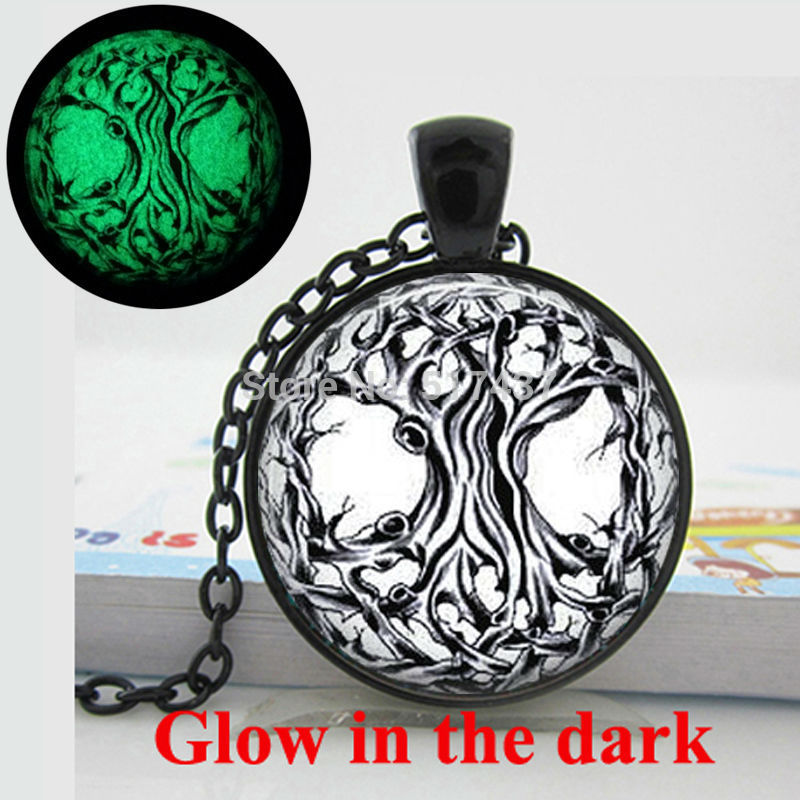 Glow in the dark Necklace Pendants, Tree Necklace Tree of Life pendant Glass Tile Jewelry Glowing Jewelry Glowing Necklace