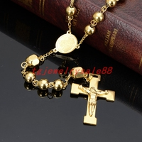 8mm Wide Gold Color Fashion Round Ball Beads Jesus Cross Pendant Rosary Stainless Steel Chain Necklace