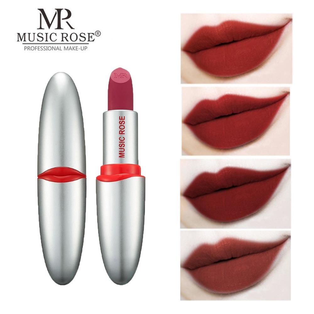 MUSIC ROSE 24 Color Matte Lipstick Lips Make Up Waterproof Velvet Lip Stick Shimmer Nude Red Makeup Long Lasting Lipsticks