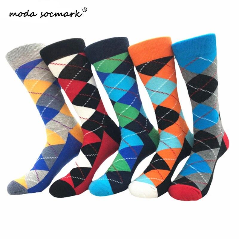 Moda Socmark 2019 New Funny Socks Men Harajuku Street Happy Socks Diamond Spell Color Long Combed Cotton Socks For Men Women