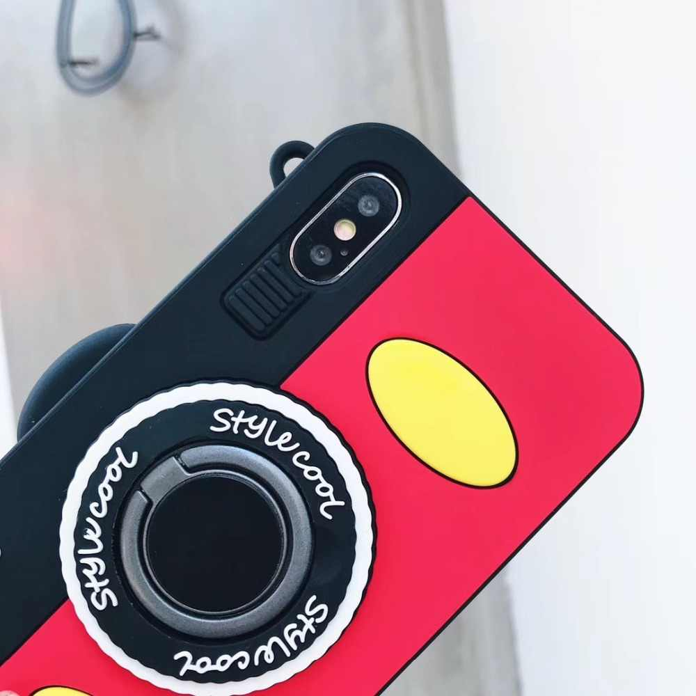 Case Cover for iPhone X 7 8 Plus Case Cover with Ring buckles Silicone Case for iPhone 6 XS Max Cartoon Camera Phone Case Cover
