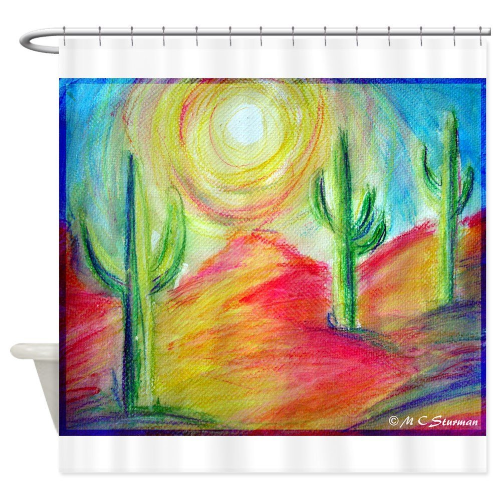 Desert, Southwest art! Shower Curtain Decorative Fabric Shower Curtain Set House Doormats for Living Room Anti-Slip Rug