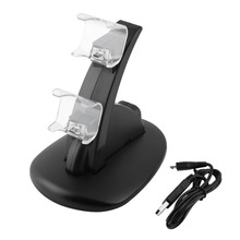 LED Dual USB Charging Charger Dock Stand Cradle Docking Station for Sony Playstation 4 PS4 Game Gaming Console Controller цена в Москве и Питере
