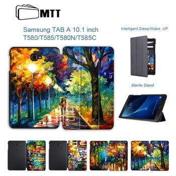 9d23c24971a MTT de aceite pintura caso para Samsung Galaxy Tab A6 10,1 pulgadas SM-T580  T585 Slim magnético soporte de la PU de cuero Tablet cubierta de la Funda