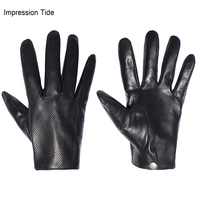 Impression Tide Genuine Leather Gloves Men Breathable Fashion Classic Goatskin Unlined Thin Touch Screen Driving Mittens LJM 004