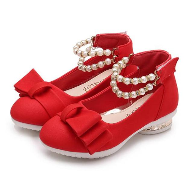 Weoneit New Spring Autumn Children Shoes Girls Sandals Pearls Princess Girls Shoes Kids Girls Wedding Party Dress Shoes