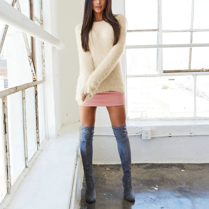 Newly Spring Autumn Sweater Women Loose Long Sleeve Solid Warm Pullovers Tops FDM