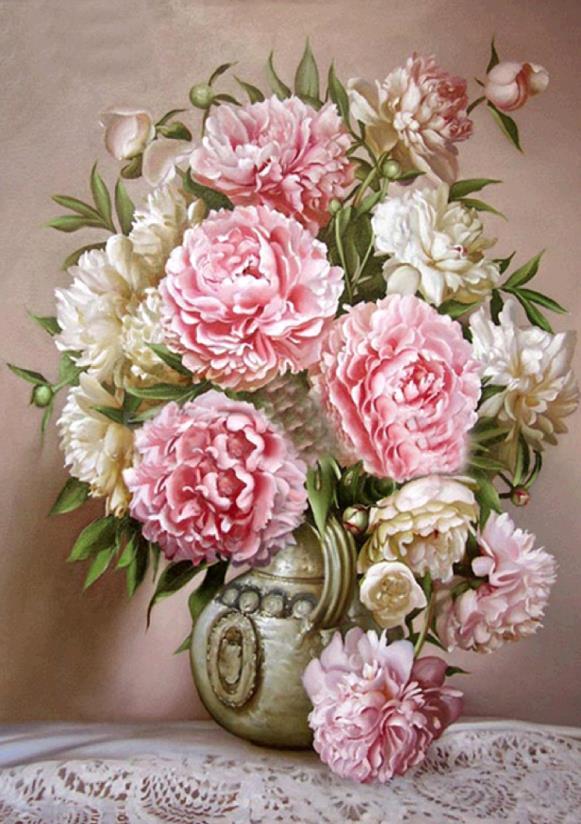 % Diy 5D Diamonds Embroidery Peony In The Vase Round Diamond Painting Cross Stitch Kit Diamond Mosaic Flowers Home Decoration