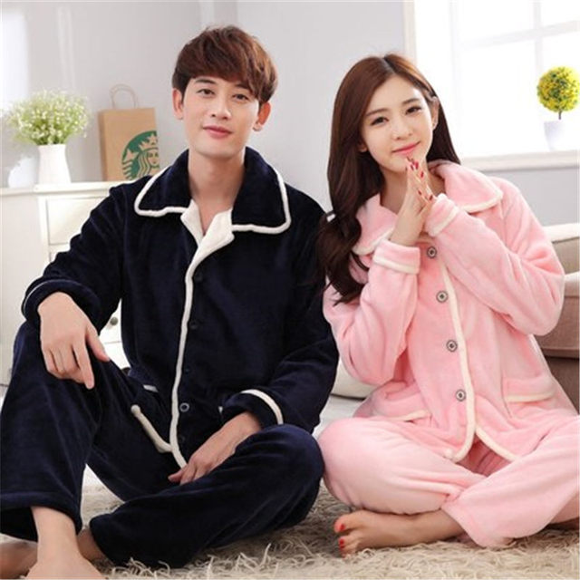 100% Coral Fleece Couples pajamas thick flannel pajamas winter autumn  thickening terry women cotton pajama db89e68f6