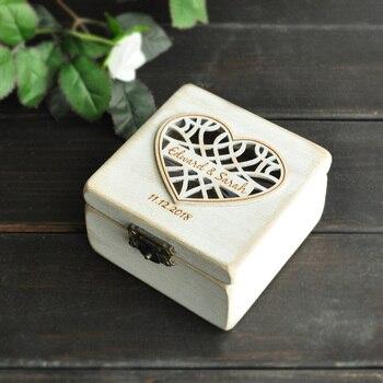 Caja del anillo de boda personalizado anillo portador almohada Caja Blanco rústico Shabby Chic arpillera anillo caja