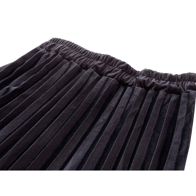 Image 5 - TIGENA New Arrivals Patchwork Suede Pleated Skirts Women 2019 Autumn Winter High Waist Vintage Plaid Long Maxi Skirt Female-in Skirts from Women's Clothing