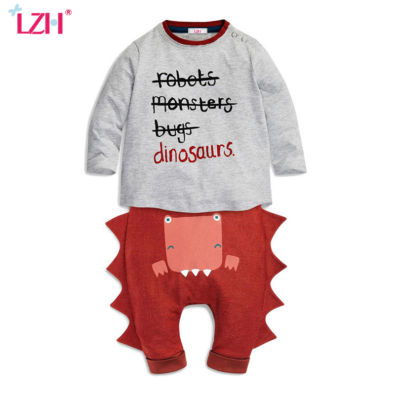 LZH Newborn Clothes Set 2017 New Baby Boys Clothing Sets Baby Cotton T-shirt+Pants 2pcs Kids Clothes Outfit Suit Infant Clothing