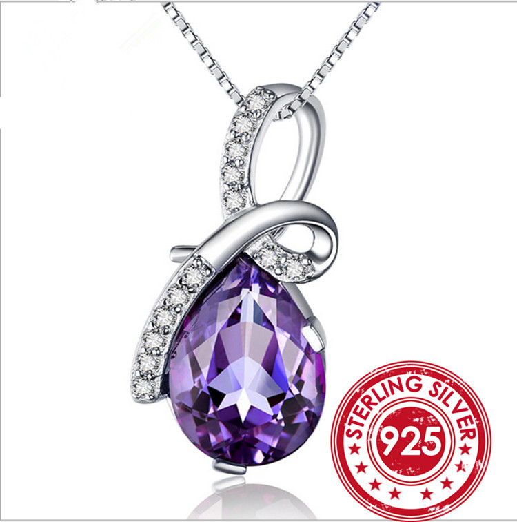 SNH Natural Crystal Amethyst Pendant Necklace Princess Diana Engagement Wedding Genuine Solid 925 Sterling Silver Jewelry