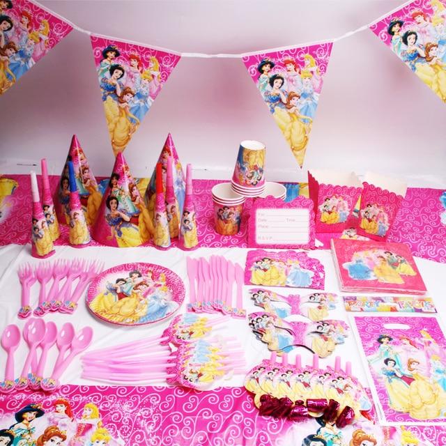 135 шт./лот принцессы вечерние свадебные сувениры для детей День рождения украшения для детей, товары для вечеринки, дня рожденья одноразовая...