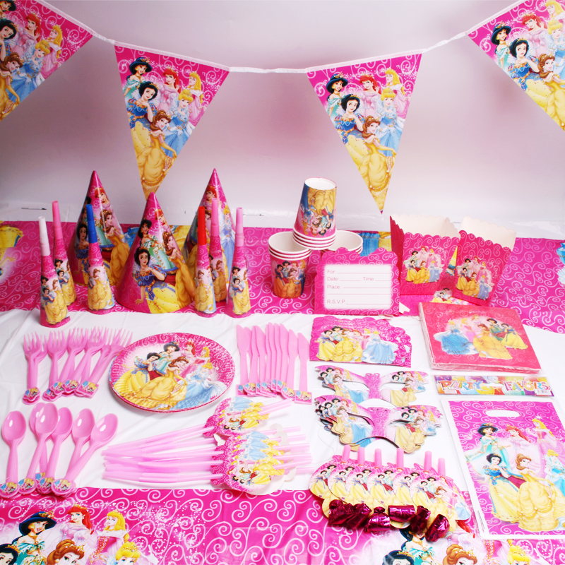 135pcs/lot Princess Party Favors Children Birthday Party Decorations Kids Party Supplies Birthday Disposable Tableware Sets