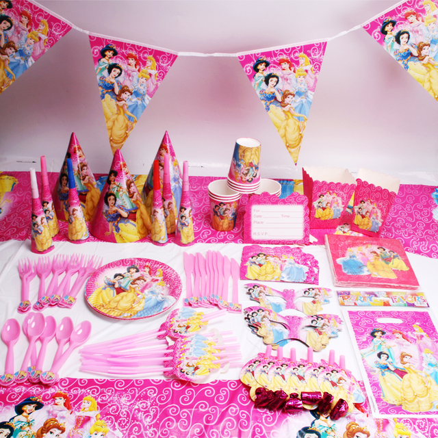 135pcslot princess party favors children birthday party decorations kids party supplies birthday disposable tableware