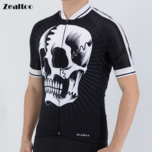 Zealtoo White skull sublimation printing Short Sleeve Cycling jersey mtb Bike Clothing Bicycle Clothes Ropa Maillot Ciclismo