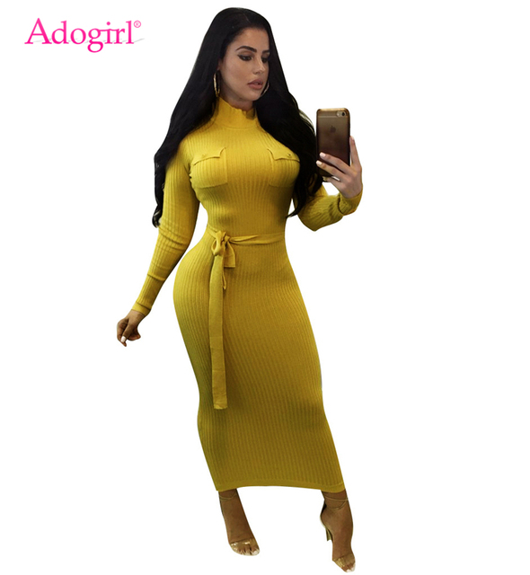 a199b5421376 Adogirl Turtleneck Long Sleeve Knitting Ribbed Bodycon Dress Front Pockets  Sashes Casual Maxi Pencil Dresses Vestidos Mujer