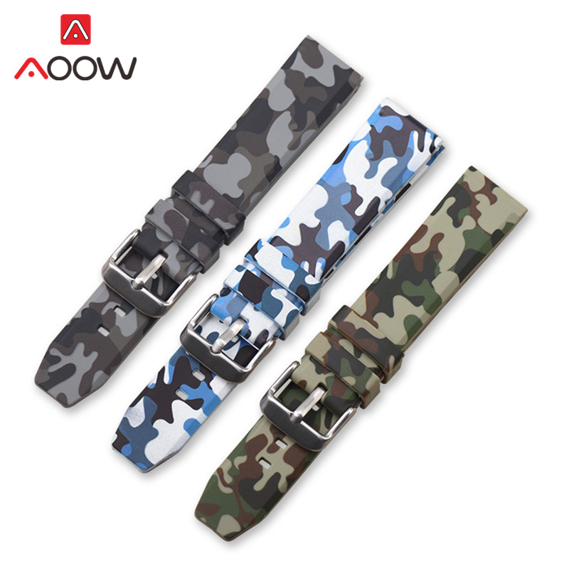 20mm 22mm 24mm Silicone Watchband Camo Printed Rubber Waterproof Replacement Bracelet Band Strap Watch Accessories For Gear S3