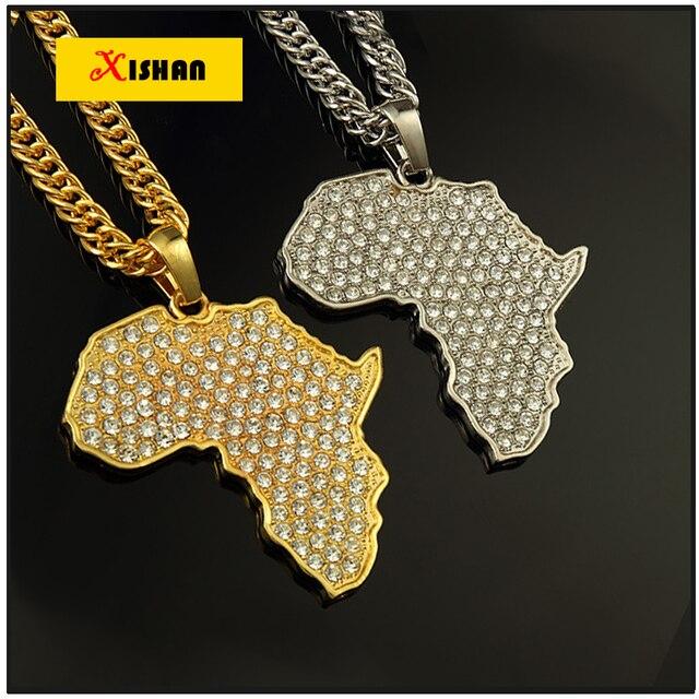 2016 карта Африки кулон ожерелье женщины мужчины позолоченные fillde ювелирные мужчины 80 см африканская золотая цепочка оптом