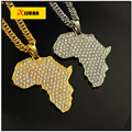2016 Africa map pendant necklace women men gold plated fillde jewelry men 80cm african gold chain wholesale