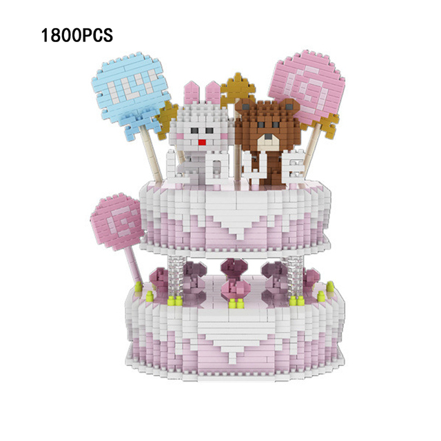 Idea Creator Cartoon Birthday Cake Micro Diamond Building Block Beat Rabbit Nanoblock Toys For Children Gifts