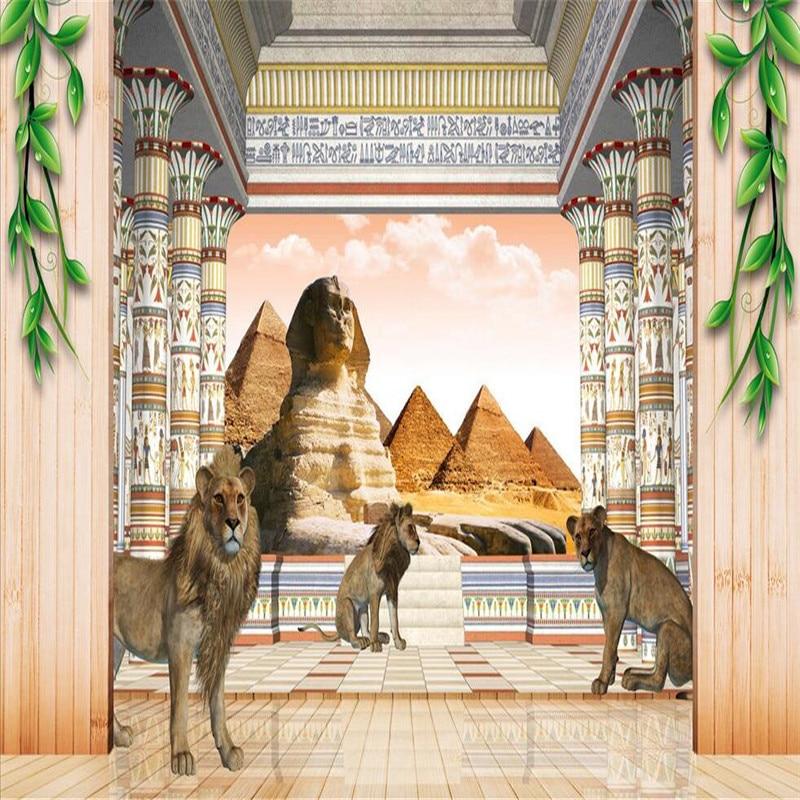 Beibehang wallpapers modern egyptian pyramids sphinx - Murales de pared 3d ...