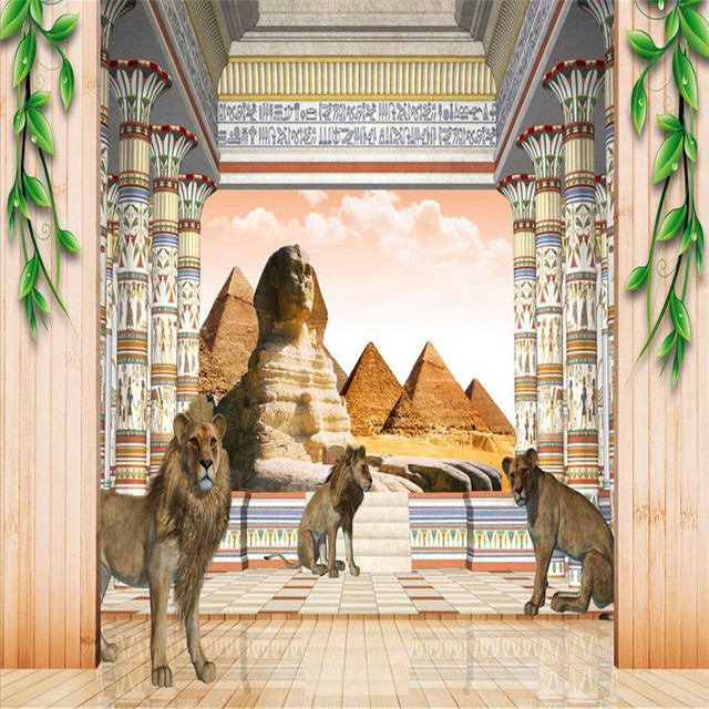 Beibehang wallpapers modern egyptian pyramids sphinx for Egyptian mural wallpaper