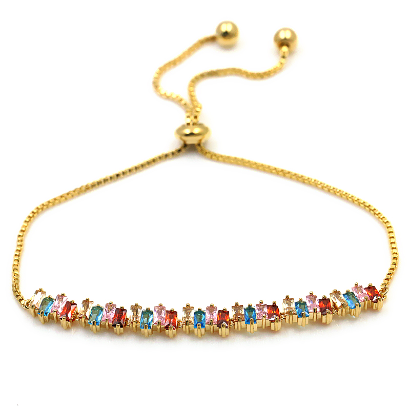 WEIMANJINGDIAN Marque Mousseux Carré Cubique Zircone Cristal Réglable CZ Zircon Bracelets pour les Femmes dans des Couleurs Assorties