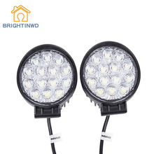 BRIGHTINWD New 42WLED Shockproof Waterproof Round Work Light Maintenance Automotive Engineering Spotlight Off-road Vehicle