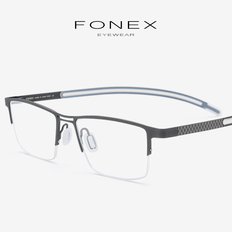 B Titanium Eyeglasses Frame Men 2019 New Prescription Eye Glasses Semi Rimless Half Square Glasses Myopia