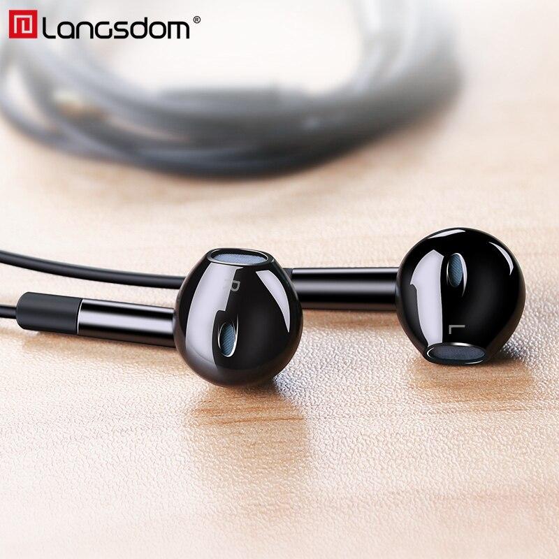 Langsdom E6U Hifi Kopfhörer 3,5mm In-Ear Headset mit HD Mikrofon Bass Kopfhörer für Telefon Xiaomi Samsung Huawei fone de ouvido