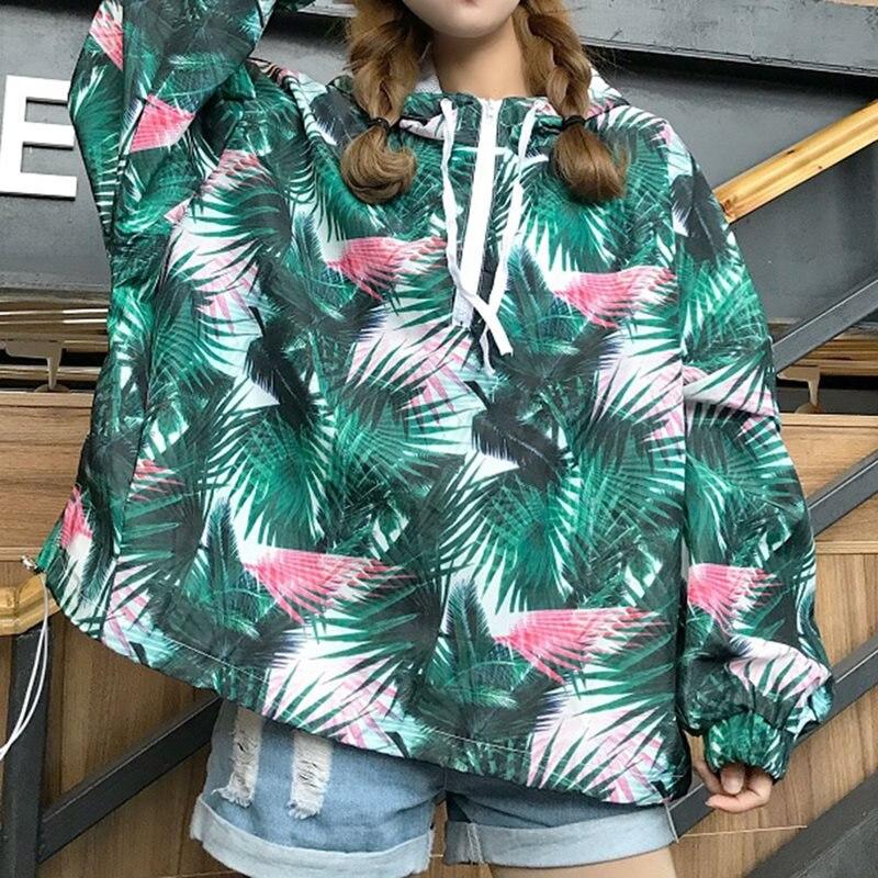 2019 Fashion Oversized Hoodie Women Harajuku Hip Hop Loose Streetwear Plant Print Hipster Autumn Top Black Gothic Casual Hoodies