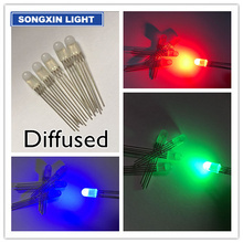 20pcs 5mm RGB LED Diffused Diode Light Common Anode Tricolor Red Green Blue Diffused 5 mm LED Emitting Diode Lamp Wide Angle