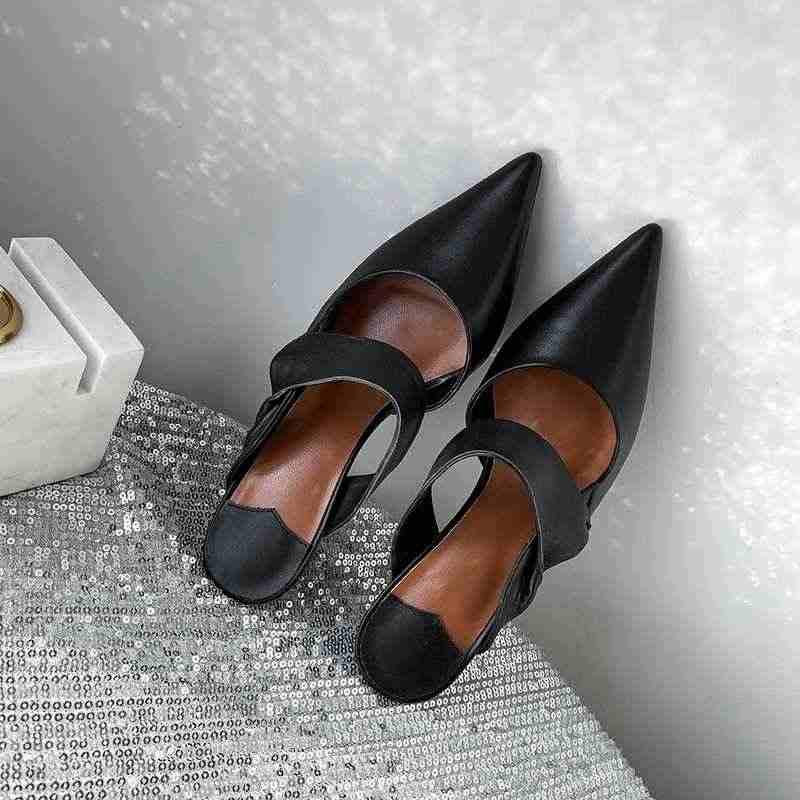 Krazing pentola in vera pelle Autunno muli strano design punta a punta slip on stiletto alti talloni di modo del partito di incontri pompe l36
