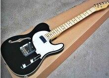 Высочайшее качество GYTL-2049 черный цвет белый плиты клен гриф F дырочку двойной Сторона Декор гитара Telecaster, Бесплатная доставка